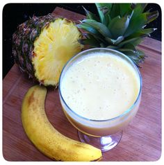 Banana and Pineapple Smoothie- Cool down this summer with a refreshing blend of pineapple, banana and yoghurt. This tropical smoothie is a perfect choice at breakfast or as an afternoon pick-me-up.