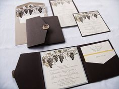 Winery Themed Pocketfold Wedding Invitation with Grapes, Woodgrain and Custom Wax Seal by Paper Fling