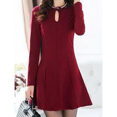 Lace Splicing Slimming Stylish Round Neck Long Sleeve Women's Dress