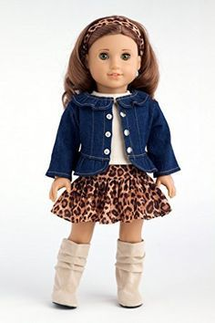 """Adventure - 5 piece outfit - Jeans jacket, ivory tank top, skirt, scarf and boots - American Girl Doll Clothes Price : $33.97 <a href=""""http://www.dreamworldcollections.com/Adventure-outfit-jacket-American-Clothes/dp/B00Y9CBE28"""" rel=""""nofollow"""" target=""""_blank"""">www.dreamworldcol...</a>"""