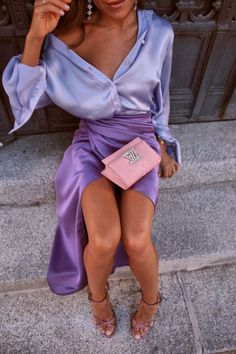 The Wrap Purple Skirt Cute Fall Outfits, Classy Outfits, Outfits For Teens, Trendy Outfits, Summer Outfits, Classy Casual, Classy Chic, Dress Summer, Spring Dresses