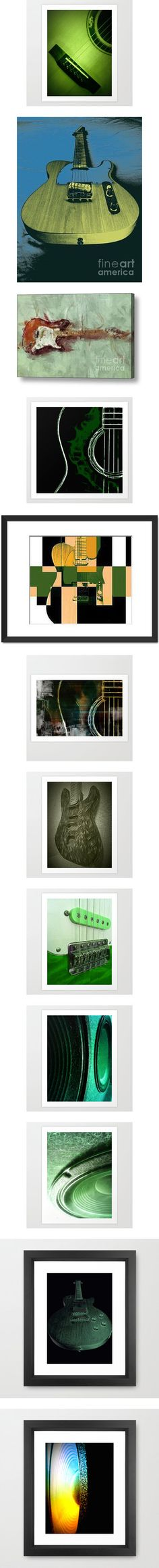 Green Guitar Art by Eric Rasmussen by christy-leigh-1 on Polyvore featuring home, home decor, wall art, guitar, green home decor, green wall art, pop art, framed wall art, art and abstract home decor