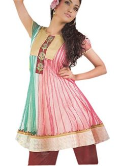 Jayayamala Multi Color Net Fabric Short Sleeve Top Dress xxxl ** Be sure to check out this awesome product.