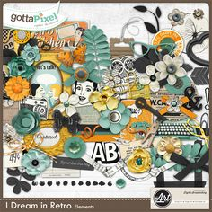 I Dream in Retro Page Kit by Word Art World. Now at 50% off at Gotta Pixel. You can also get the papers, elements, wordarts and Extras for $1/pack