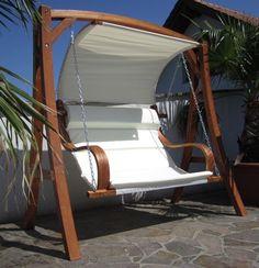 Unique Design Hollywoodschaukel Gartenschaukel Hollywood Schaukel aus Holz L rche Modell uMERU u HM