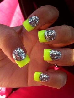 25 Trendy Neon Nail Art Designs - World inside pictures Neon Nail Art, Neon Nails, Love Nails, Glitter Nails, My Nails, Silver Glitter, Sparkly Nails, Glitter Art, French Gel
