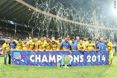 Chennai celebrate the win during The Final of the Oppo Champions League Twenty20 between the Kolkata Knight Riders and the Chennai Superkings held at the M. Chinnaswamy Stadium, Bengaluru, India on the 4th October 2014