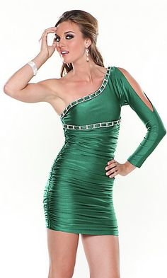 Informal balance. The two sides of the dress are different. One side has a sleeve with a large slit in it and the other side has no sleeve at all.