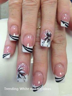 French Nails - French Nail Tip Ideas, French Nail Polish, French Tip Nail Designs Classy Nail Designs, French Nail Designs, Acrylic Nail Designs, Nail Art Designs, Acrylic Gel, Nails Design, Pedicure Designs, Flower Design Nails, Fingernail Designs