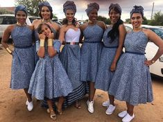 Shweshwe bridesmaid dresses 2019 - style you 7 African Bridesmaid Dresses, African Wedding Attire, African Attire, African Wear, African Dress, Ankara Dress, South African Traditional Dresses, Traditional Wedding Dresses, Traditional Outfits