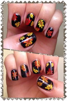 I did a fall leaves nail art design using gelish base and acrylic paint for the hand painted leaves. Simple and sweet.