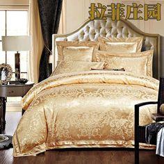 4/6pcs Green Jacquard Satin bedding set king queen Luxury duvet cover bed linen