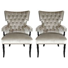 Pair of Mid-Century Modernist Tufted Klismos Chairs with Stylized Bamboo Legs | From a unique collection of antique and modern armchairs at https://www.1stdibs.com/furniture/seating/armchairs/