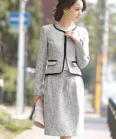 PourVous(プールヴー)の「【入学式・卒園式】2点セット ジャケット ノーカラーラメツイード スカート (スーツスカート)」 ブラック×ホワイト
