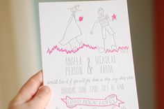 Nickolas + Angela's Neon Pink Illustrated Wedding Invitations