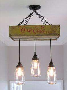 Antique coke box with mason jars