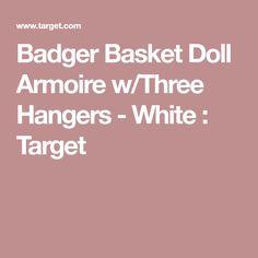 Badger Basket Doll Armoire W/Three Hangers   White