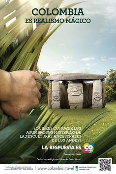 LAS ESCULTURAS ANCESTRALES DE LOS ANDES | Proexport - Colombia es Realismo Magico Advertising Poster, Advertising Campaign, Advertising Design, Bienes Raises, Tourism Poster, Colombia Travel, Poster Pictures, How To Speak Spanish, Social Media Design