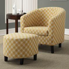 Monarch Specialties Inc. Circular Barrel Chair & Ottoman Set