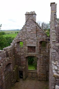 Tolquhon Castle, Scotland - Main hall from above with surrounding countryside