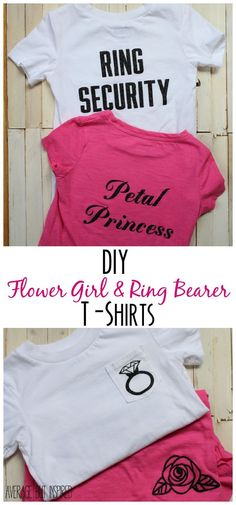 SO adorable!  Learn how to make these DIY flower girl and ring bearer t-shirts for the littlest ones in the wedding party.  They're easy and so cute! Women, Men and Kids Outfit Ideas on our website at 7ootd.com #ootd #7ootd