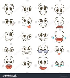 Cartoon Faces with Different Expressions by ONYXprj Cartoon happy faces with different expressions Vector illustration Happy face emotion funny character emoticon caricat. Cartoon Cartoon, Funny Cartoon Faces, Funny Cartoon Characters, Happy Cartoon, Funny Cartoons, Cute Cartoon Eyes, Cartoon Faces Expressions, Cartoon Expression, Kawaii Drawings