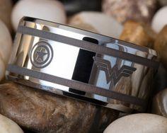 Tungsten Wedding Ring 12mm Beveled Wonder Woman Captain America Design