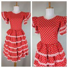 Vintage 1960s Red White Polkadot Dress Layered Lace Angel Sleeves   eBay