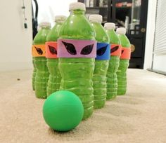 How to make a Recycled Plastic Bottle Ninja Turtle Bowling game for a party or fun DIY game at home by Loren Crane Turtle Birthday Parties, Ninja Turtle Birthday, Ninja Turtle Party, Ninja Turtles, 4th Birthday, Birthday Ideas, Carnival Birthday, Bowling Games For Kids, Emoji
