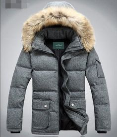 New Winter Warm Mens Fur Hooded Duck Down Jacket Coat Outerwear Parka Clothes  #100New #BasicCoat
