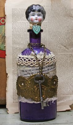 Purple BOTTLE DOLL with Antique Painted Doll by VintageSupplyCo