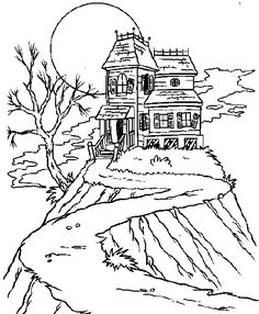 Halloween Coloring Page - Print Halloween pictures to color at AllKidsNetwork.com haunted house