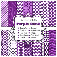 Buy 2 Get 1 Free Purple Stash Digital by DigiScrapDelights on Etsy, $3.00    #quatrefoil #chevron #polkadots #purple #fauxbois #pattern #woodgrain #damask #papers #digital