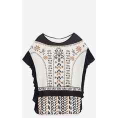 Zara Tribal T-Shirt With Frill (93 BRL) ❤ liked on Polyvore featuring tops, t-shirts, tribal t shirt, tribal print t shirt, flounce tops, tribal tees and white flounce top