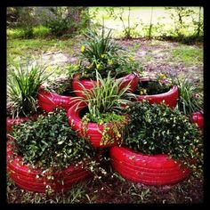 Painted tire flower bed