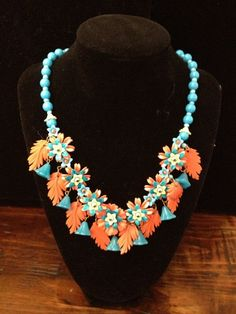 Early Vintage Plastic & Glass Floral Necklace