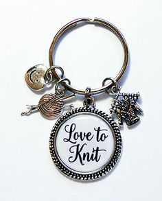 Love to Knit Keychain Key ring Gift for Knitter Stocking
