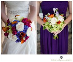 Colorful fall wedding bouquets at River Creek Country Club wedding in Leesburg, Virginia