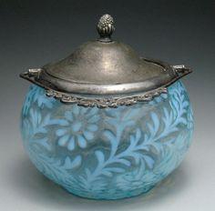 Rare Vintage Art Glass 1950s Fenton Blue Daisy & Fern Cracker Jar Biscuit Barrel