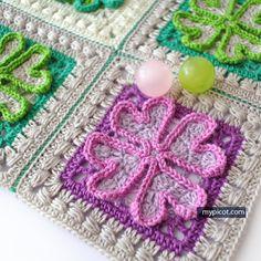 Crochet four-leaf clover motif for blanket   MyPicot | Free crochet patterns