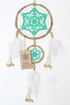 "Dream catcher with Mint Green Doily 6"" - Crochet Boho Wall decor with Handmade…"