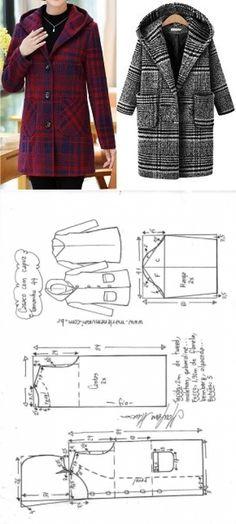 Casaco sobretudo com capuz Sewing Paterns, Dress Sewing Patterns, Doll Clothes Patterns, Sewing Patterns Free, Sewing Clothes, Clothing Patterns, Diy Clothes, Blazer Pattern, Jacket Pattern
