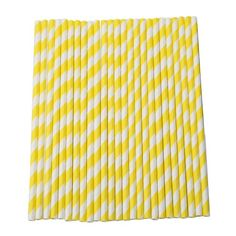 Pack of 25 Striped Drinking Paper Straws for Wedding Birthday Party (Yellow) Ace Seller 2.75+.99
