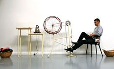 It's the Un Knitting Machine by Imogen Hedges - unravelling old jumpers using a bike wheel, a pedal and a kettle.