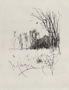 Isaac Levitan ~ Forest edge, c.1885 (ink)