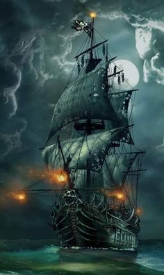 Pirate Boats, Pirate Art, Pirate Ships, Pirate Ship Drawing, Pirate Ship Painting, Tattoo Barco, Ship Tattoo Sleeves, Pirate Ship Tattoos, Wallpaper Earth