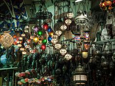 Colourful Traditional Lamps In Market At Night Grand Bazaar Istanbul, Stained Glass Light, Traditional Lamps, Moroccan Lamp, Handmade Lamps, Us Images, Design Elements, Christmas Tree, The Unit