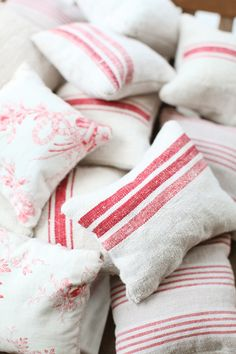 lavender pillows from vintage linen