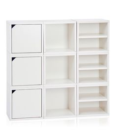 White Stackable Nine Cube Storage Shelf By