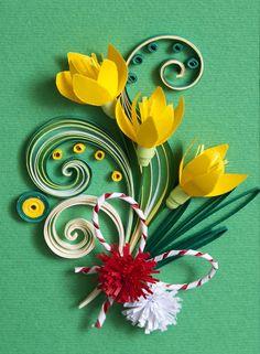 Neli Quilling Art: Preparation for Baba Marta Neli Quilling, Quilling Images, Quilling Flowers, Quilling Patterns, Quilling Cards, Quilling Designs, Paper Quilling, Quilling Ideas, Paper Art
